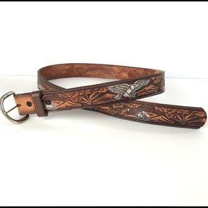 Vintage Tooled Embossed Leather Eagle Belt